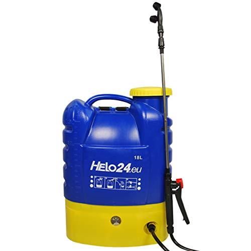 Helo \'E2\' Rückenspritze Drucksprüher 18 Liter, elektrisch mit 12V-8AH Akku, 3.1 l/min Reflux-Pumpe, 2-4 Bar, Drucksprühgerät Edelstahl Lanze, 3 Düsen, Auslösesperre und Druckentlastungsventil