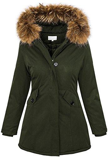 Rock Creek Selection Damen Echtfell Winter Jacke Parka Kapuze Designer Damenjacke Outdoor [D-204 - Khaki - Gr. L]