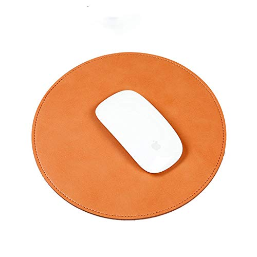 Waterproof Round Pu Leather Non-Slip Mouse Pad Gaming Mat,Smooth Surface for Fast and Accurate Control (Pu Leather-Brown)