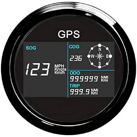 Eling Digital Gps Tacho Lcd Geschwindigkeitsmesser Kilometerzähler Einstellbar Mit Gps Antenne 85mm Überdrehzahl Alarm Auto