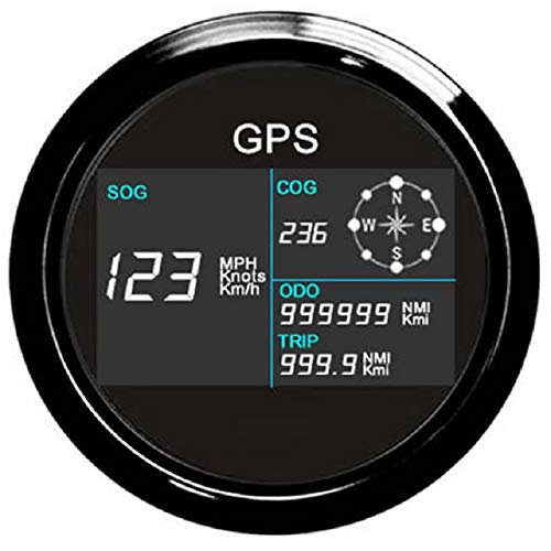 ELING Universal Digital GPS Speedometer Odometer Adjustable for Auto Marine with GPS Antenna 7 Back-Lights 85mm