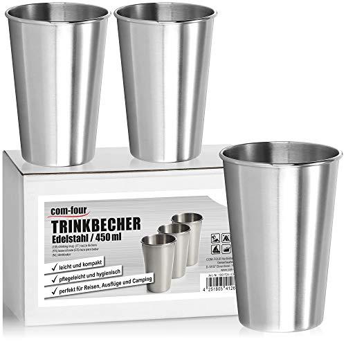 com-four® 3X Taza de Acero Inoxidable XL - Taza de Acero Inoxidable Taza de Camping 450 ml - Taza de Viaje irrompible y sin BPA (450ml)
