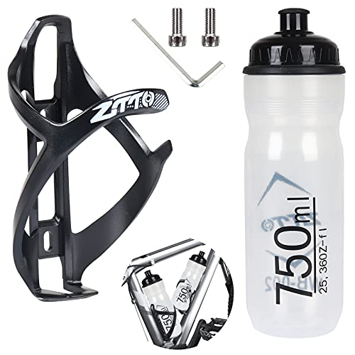 1 Botella de Agua para Bicicleta y 1 portabotellas para Bicicleta con Accesorios para Bicicletas (2X Tornillo, 1x Llave Inglesa) Soporte portabotellas MTB para Carretera montaña Bicicleta de Carreras