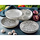 Signature 4 Piece Bowl Set Stoneware Bowls Microwave and Dishwasher Safe 8.5 inch Diameter Holds 32 Ounce Capacity