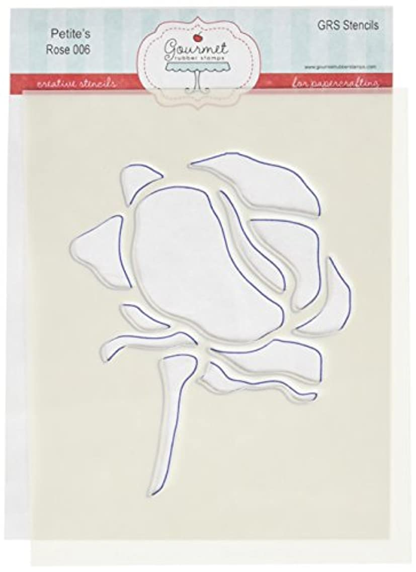 Gourmet Rubber Stamps Rose with Stem Petite Stencils, 4.25 by 6.5