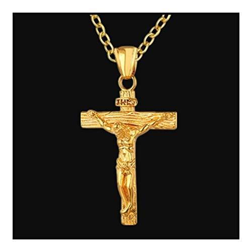Jesucristo Cristiano joyería de plata de oro de acero inoxidable colgante de collar for los hombres Moda crucifijo de Jesús Cruz colgante collares de cadena ( Color : 50cm , Size : Gold color )
