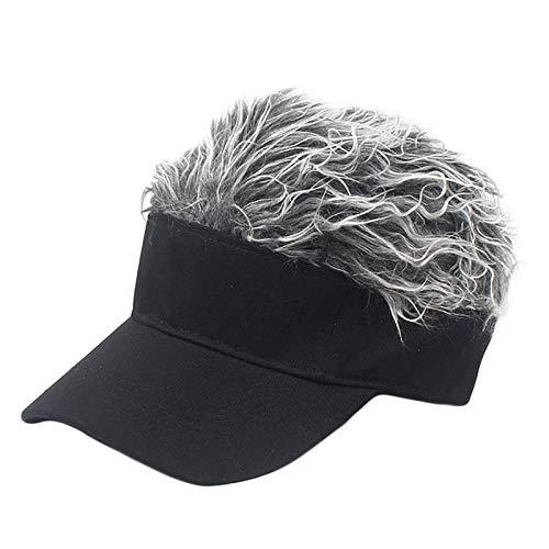 Sombrero Casual Neutro de Moda al Aire Libre Parasol Gorra de béisbol con la Peluca, Apto for Internet Moderna Calle Hipsters (Color : Adult Black Silver Ash Wig)