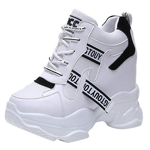 Masoness 💎💎 Damen Weiß Trendy High-Top Sneakers Stiefeletten Höhe erhöhen Schuhe Turnschuhe Atmungsaktiv Laufschuhe Leichtgewichts Sportschuhe Freizeitschuhe Straßenlaufschuhe Nähen