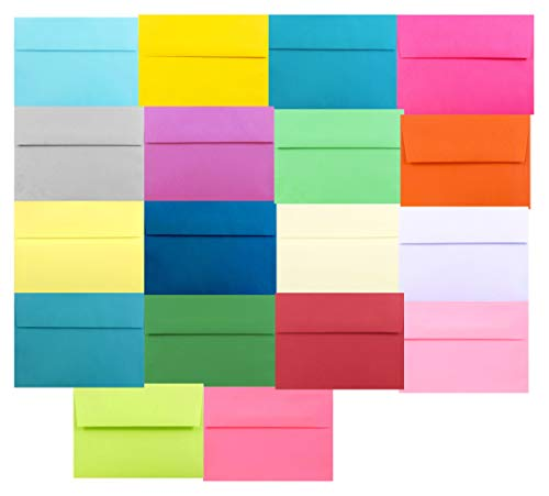 Assorted Multi Colors 25 Pack A7 Envelopes 5-1/4 x 7-1/4 for 5 X 7 Greeting Cards, Invitations Announcements - Astrobrights & More from The Envelope Gallery