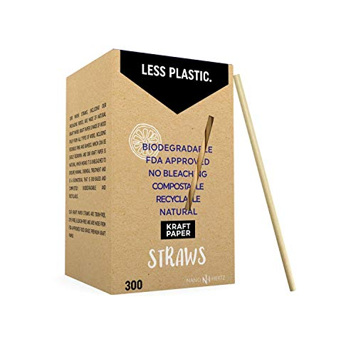 300-pack papieren rietjes | Ongebleekt bruin kraft wegwerprietjes voor het drinken| Recycleerbaar wegwerpbaar biologisch afbreekbaar composteerbaar | Rietjes voor sappen, smoothies, milkshakes, cocktails
