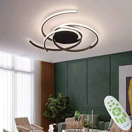 Modern Deckenleuchte LED Dimmbar Wohnzimmerlampe Mit Fernbedienung Kreativ Ring Design Deckenlampe 92W Metall Acryl Dekorative Beleuchtung für Schlafzimmer Esszimmer Flur Küche Lampen 75cm (Schwarz)