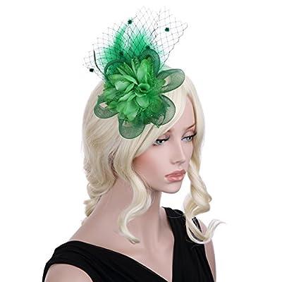 VGLOOK Feather Hair Clip Fascinator Hats Wedding Headwear