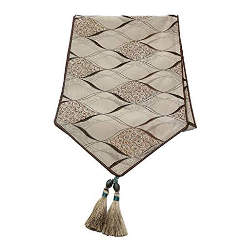 Bandera de mesa Camino de Mesa Elegante poliester clasico for Comedor/Fiesta/Decoracion navidena Geometria de celosia de Diamante Marron (210 * 35 cm) 4.4
