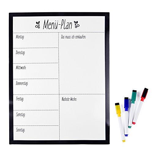 EAST-WEST Trading Magnetisches Whiteboard Menü-Plan - Einkaufsliste - einfach zu beschreiben und wegzuwischen mit starkem Magnet - Flexibles Magnetboard inklusive 4 farbige abwischbare Stifte