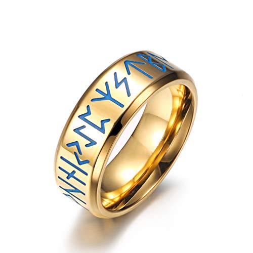 ASEDRF New Viking Brief Punk-Ring-Neue Edelstahl-Leuchtringe Leuchten in Der Dunkelheit Der Männer Ring Fashion Gold Schwarz Ring Dropshipping,B,10