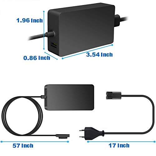 Uhomely Surface Pro Ladegerät, 44W 15V 2,58A Tragbares Netzteil-Adapter, Surface Ladekabel für Surface Pro 3/Pro 4/Pro 5/Pro 6/Pro 7/Surface Book/Surface Laptop mit 5V 1A Smartphone-USB-Ladeanschluss