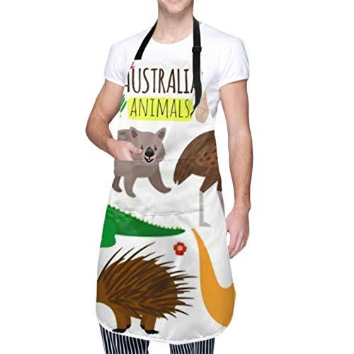 ZANSENG Unisex Schürze, wasserdicht langlebig verstellbar australische Tiere Vektor Tier Icons Australien Kochschürzen Chef Schürze für Geschirrspülen BBQ Grill Restaurant Garden