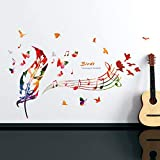 TYLOLMZ Music Is My Life Wall Art Decal Stickers Notas musicales extraíbles...