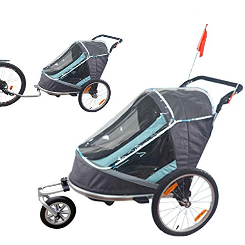 OLMME 2-Sitzer Kinderfahrrad Kinderwagen/Anhänger 2 In 1 Anhänger Buggy Jogger Aluminiumlegierung Rahmen Zusammenklappen/Einstellen Kinderanhänger Transport (blau Grau)