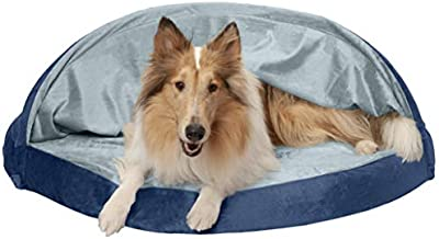 Furhaven Pet Dog Bed - Orthopedic Round Cuddle Nest Micro Velvet Snuggery Blanket Burrow Pet Bed with Removable Cover for Dogs and Cats, Navy, 44-Inch