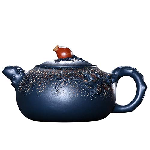 STZSHION Prachtige Blauw Geschilderde Versiering Gift Package Zi Sha Theepot Handgemaakte Paars Zand Pot Ambachten Home Decoration, 350cc (Size : 350cc)