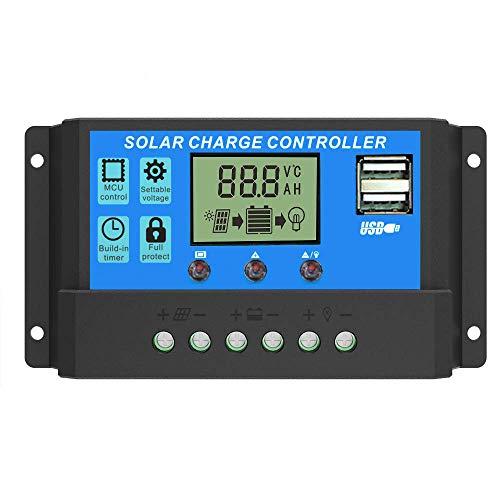 JEANS DREAM 12V/24V Pannello Solare Regolatore per Batterie Caricabatterie Intelligente Display LCD Doppio USB Nuovo (30A)