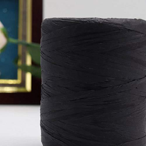 BBZ Bastgarn zum Häkeln Raffia-Tasche 180 Meter/Rolle Sommer Handstrickgarn Stroh Sonnenhut für Kopfbedeckungen, schwarz