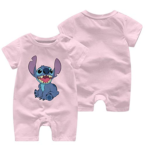 Lilo And Stitch Baby Outfits Short Sleeve T-Shirt Bodysuit Infant Pajamas Kids Romper Pink 0-3 Months