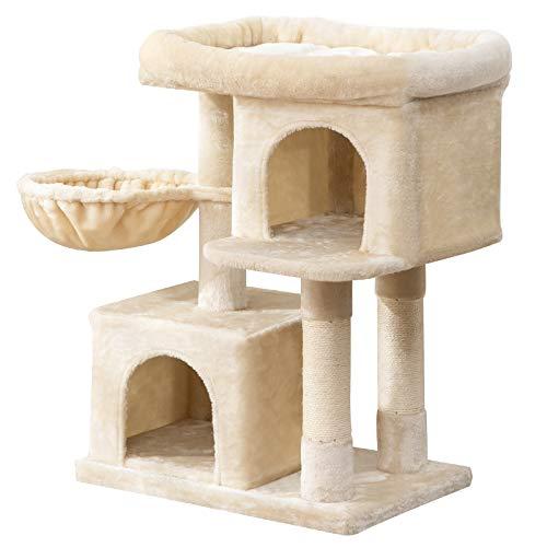 IBUYKE Kratzbaum mit Großer Plattform 2 Plüschhöhlen, Spielhaus 84cm Kletterbaum für Katzen Kätzchen Beige CT010M