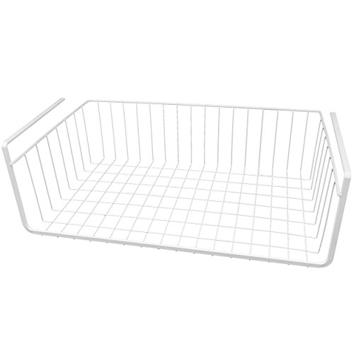 Southern Homewares White Wire Under Shelf Storage Organization Basket 17-Inch