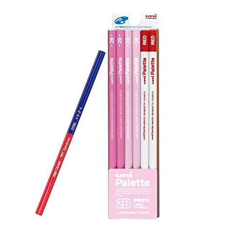 【名入れ】三菱鉛筆 uniPalette ユニパレット かきかた鉛筆黒芯10本+赤芯2本(K5564-2BAO) パステルピンク 硬度2B 赤青鉛筆1本おまけ