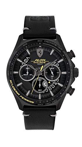 Scuderia Ferrari Reloj Cosa análoga para de los Hombres de Cuarzo con Correa en Cuero 830823
