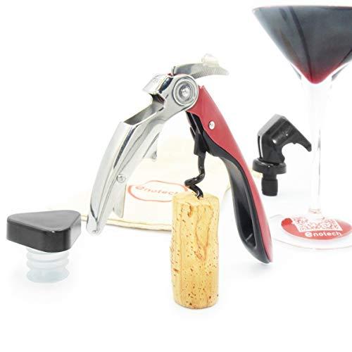 Enotech | Kit con Sacacorchos de Vino Profesional | Abridor para Botellas con Tapón | Abrebotellas de Cerveza | Descorchador de Camarero y Accesorios