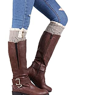 Yukong Lace Knitted Twist Leg Warmers,Boot Socks Cover (Grey)