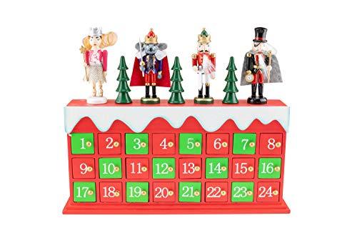 Clever Creations - Adventskalender mit Motiv Nussknacker von Tschaikowski - Mäusekönig, Herr Droßelmeier, Prinzessin Clara, Nussknackerprinz - traditionelle Weihnachtsdeko - stabile Holzkonstruktion