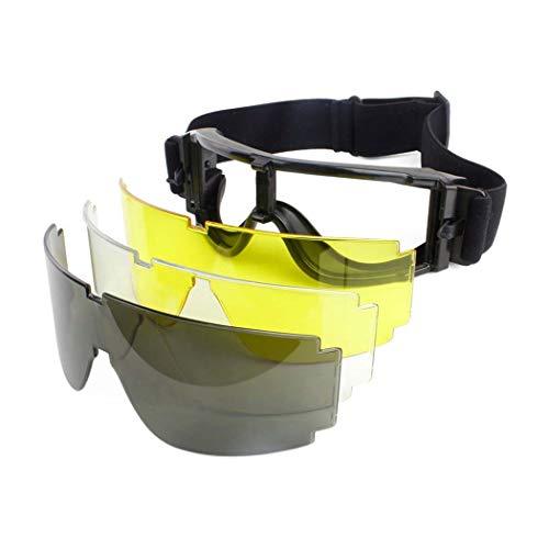 Gafas tácticas Aoutacc Airsoft, 3 lentes intercambiables de seguridad, a prueba de polvo, resistente al viento (transparentes, ahumadas, lentes amarillas)