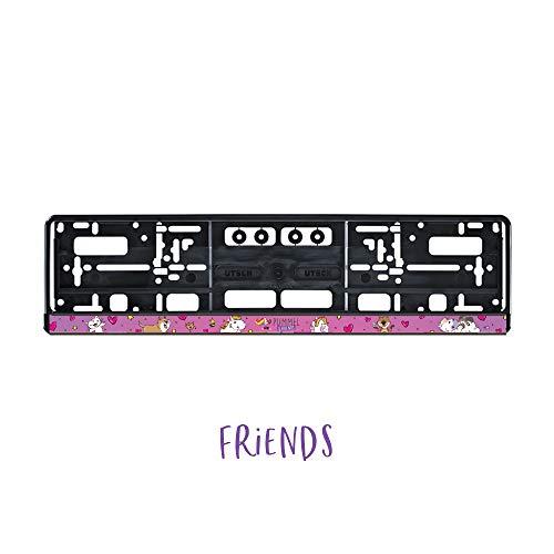 Pummel & Friends - KFZ-Kennzeichenrahmen mit Clip (Rosa)