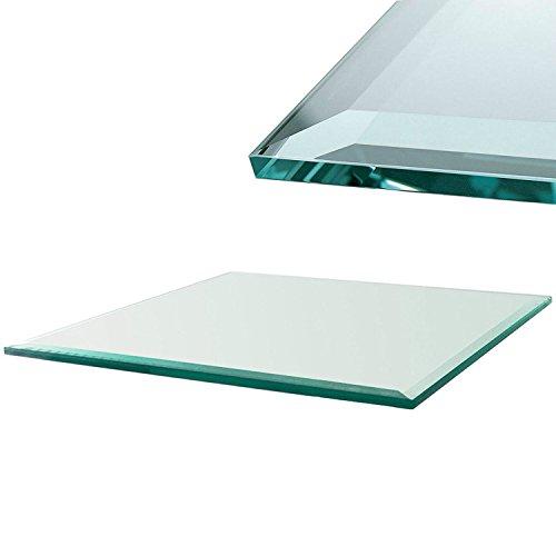 Euro Tische Glasplatte für Kaminofen - Glasscheibe mit 6mm ESG Sicherheitsglas - perfekt geeignet als Funkenschutzplatte - Verschiedene Größen (80x60cm, Klarglas)