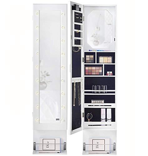 IceCreamLiving Kristall Tür Wandmontage Voller Länge Schlafzimmer Spiegel Schmuckschrank Mit LED-Leuchten Und Fönhalter Mit Regale Aufbewahrung Für Make-Up Und Kosmetik (Weiß)
