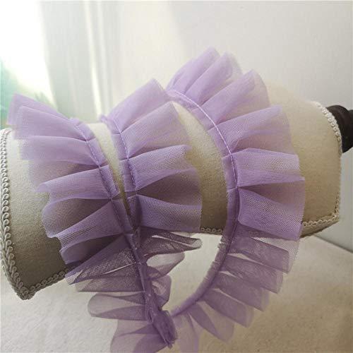 5cm brede dubbele lagen mesh geplooid kant lint vouw ruches trim guipurekant appliques jurken diy naaien afsnijdsels benodigdheden, lichtpaars