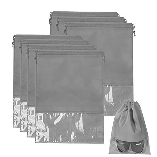 ITME 8 Bolsas de Zapatos Impermeables y a Prueba de Polvo Bolsas para Zapatos de Viaje Bolsas con Cordón para Zapatos para Hombres y Mujeres Bolsas Transparentes para Zapatos de Viaje (44 * 32cm/Gris)