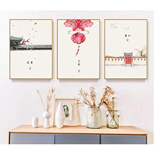 N / A - Póster de pintura en lienzo, 3 piezas, tinta minimalista y antigua, para sala de estar, no enmarcada, decoración del hogar