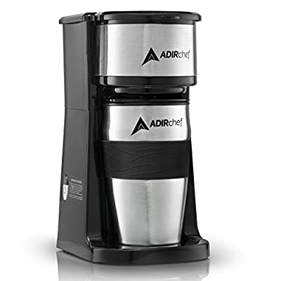 Adir Single Serve Coffee Maker - Mini Coffee Maker, Personal Coffee Maker with 15 oz. Grab & Go Travel Mug Coffee Tumbler & Reusable Filter For Home, Office, Camping(Black)
