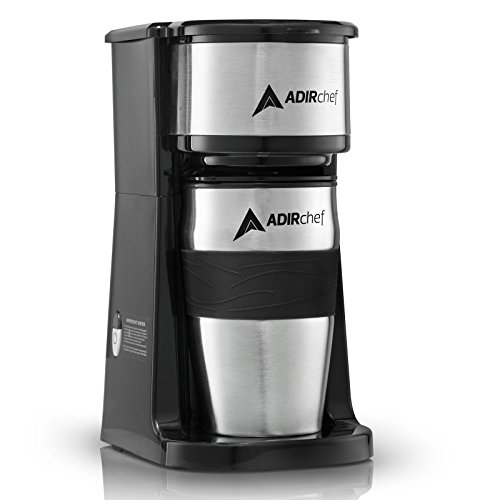 AdirChef Grab N' Go Personal Coffee Maker with 15 oz. Travel Mug, Black/Stainless Steel (Hamilton Beach 49981a Single Serve Scoop Coffee Maker)