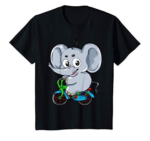 Niños Elefante en Bicicleta Cómic Regalo para niños Camiseta