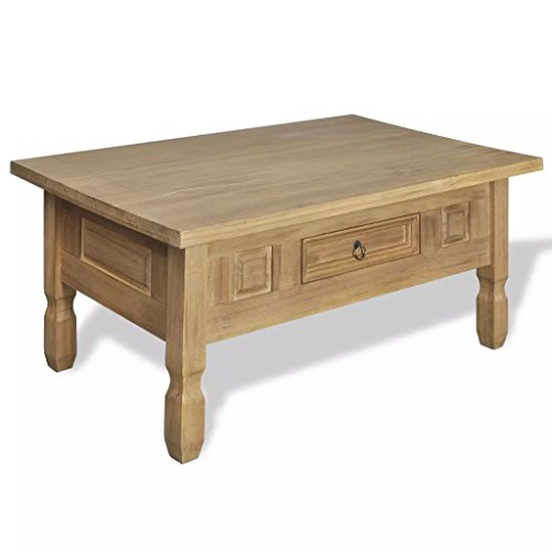 UnfadeMemory Couchtisch mit Schublade Massives Kiefernholz Kaffeetisch Beistelltisch Massivholz Wohnzimmertisch 100 x 60 x 45 cm Holz-Tischplatte Massivholzkonstruktion