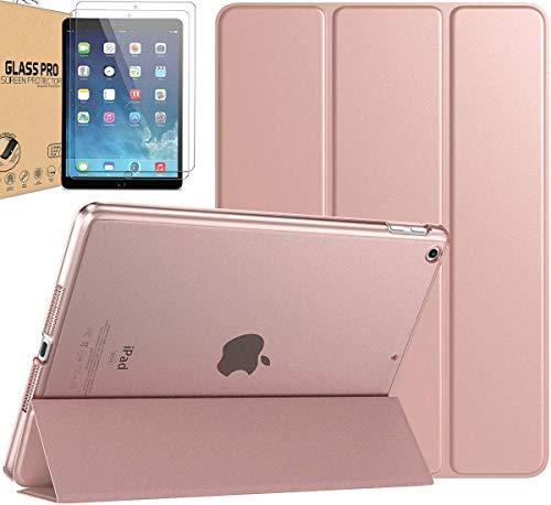 [paquete] Funda inteligente de policarbonato compatible con iPad Air 3 de 10.5 pulgadas 2019 / iPad Pro de 10.5 pulgadas 2017 translúcida esmerilada trasera protectora de cristal templado (oro rosa)