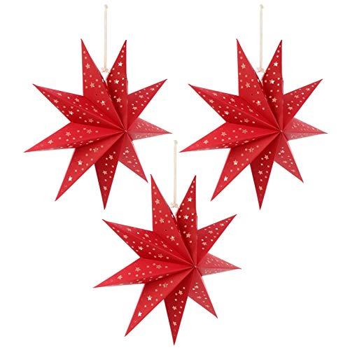 FRCOLOR 3Pcs Papel Estrella Linterna Pantalla Colgante Adornos de Estrella de Navidad Colgante Estrella Lámpara Copos de Nieve Decoraciones Boda Fiesta de Cumpleaños Decoraciones para El