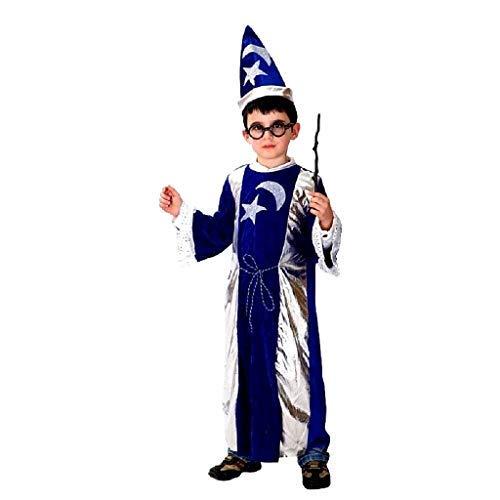 EVRYLON Costume mago merlino bambino carnevale vestito stregone travestimento colore blu e argento ( taglia m ) 5 - 6 anni ottimo regalo per natale o compleanno