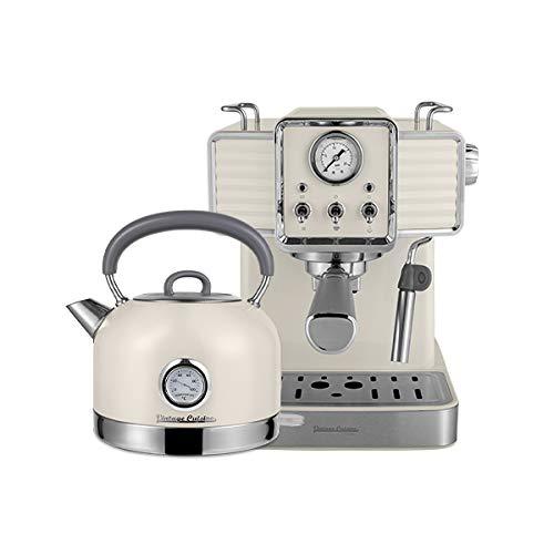Machine à café rétro et Bouilloire électrique Vintage Cuisine - crème (CREAM)